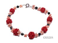 5mm Round Red and Pink Coral Necklace