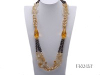 7-8mm coffee flat freshwater pearl with natural cirtine chips necklace
