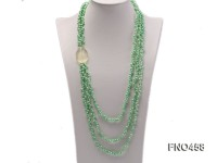 3 strand green freshwater pearl and crystal necklace