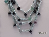4 strand bule freshwater pearl and crystal necklace