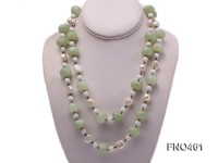 11*13mm natural white baroque freshwater pearl with faceted aventurine necklace