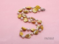 White Freshwater Pearl & Yellow Seashell Pieces Necklace and Bracelet Set