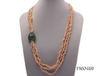 4*6mm pink side-drilled freshwater pearl with crystal opera necklace