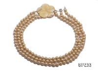 8mm champagne round seashell pearl three-strand necklace