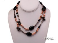 5-6mm black rice freshwater pearl with natural smoky quartz and carved agate necklace