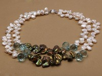 Two-strand White or Army-green Keshi Pearl Necklace Dotted with blue Crystal Beads