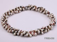 4 strand white freshwater pearl and tourmaline necklace