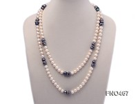 8-9mm white and black round freshwater pearl necklace