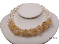 3 strands white freshwater pearl and citrine gravely necklace