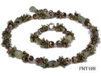 Irregular Freshwater Pearl, Crystal Beads and Rose Quartz Necklace and Bracelet Set
