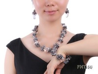 Irregular Freshwater Pearl & Crystal Beads Necklace, Bracelet and Earrings Set