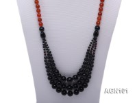 7-8mm black and red round agate necklace