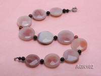 37-45mm red round facetd agate and illusion agate necklace
