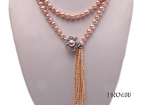 9-10mm natural pink round freshwater pearl necklace
