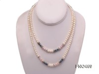 6-7mm white,black and lavender flat freshwater pearl opera necklace