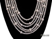 6 strand white round freshwater pearl necklace with sterling sliver clasp