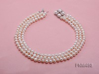 3 strand white round freshwater pearl necklace with pearl clasp