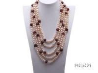 5 strand pink freshwater pearl and red agate necklace with sterling sliver clasp