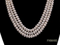 3 strand white flat freshwater pearl necklace with zircon clasp