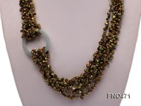 4-5mm green keshi freshwater pearl opera necklace