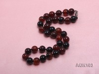 11-12mm black and red round agate necklace