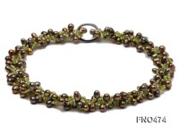6*9mm grass green side-drilled freshwater pearl necklace