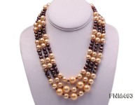 Three-Strand Black Freshwater Pearl and Golden Seashell Pearl Necklace