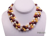 3 strand white,dark red and orange baroque freshwater peark necklace