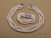 Tree-strand 7-8mm White Flat Freshwater Pearl Necklace and Bracelet Set