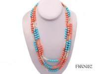 5mm pink round coral with blue turquoise and white freshwater pearl opera necklace