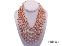 6 strand white and champagne freshwater pearl necklace with sterling sliver clasp