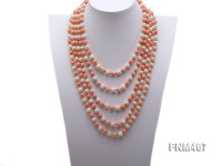 5 strand pink coral and white freshwater pearl necklace