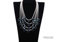 4 strand white freshwater and manmade aquamarine necklace