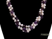 2 strand white freshwater pearl and round faceted amethyst necklace