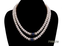 2 strand white freshwater pearl and round lapis lazuli necklace