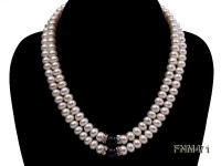 2 strand white freshwater pearl and round amethyst necklace