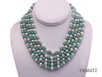 5 strand white freshwater and jade necklace