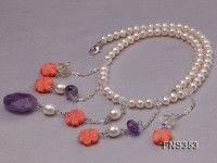 natural 6-7mm white round freshwater pearl with pink coral flower and amethyst necklace