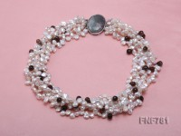 Five-strand White Freshwater Pearl and Smoky Quartz Beads Necklace