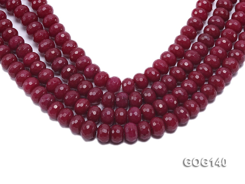 Wholesale 8x13mm Rose-like Faceted Wheel-shaped Gemstone String