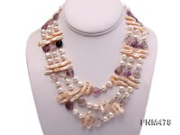 3 strand white and pink freshwater pearl and purple heart-shaped crystal necklace