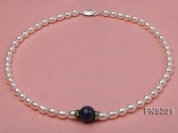 natural 7-8mm white rice freshwater pearl with lapis lazuli single strand necklace