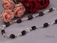 natural white freshwater pearl with natural white crystal and amethyst necklace