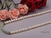 natural 7-8mm white round freshwater pearl with jade single strand necklace