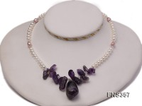 natural 6-7mm white flat freshwater pearl with amethyst chips single necklace