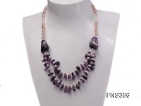 natural 5-6mm lavender flat freshwater pearl with amethyst chips single necklace