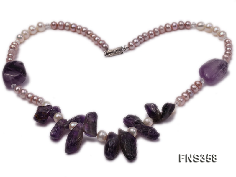 natural 5-6mm lavender flat freshwater pearl with amethyst single necklace