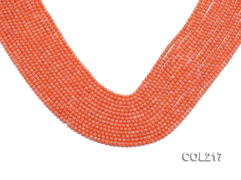 Wholesale 2.5mm Round Pink Sponge Coral Beads Loose String