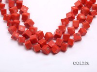 Wholesale 12x12mm Cubic Orange Sponge Coral Beads Loose String