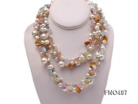 8-12mm white seashell with multicolor crystal opera necklace